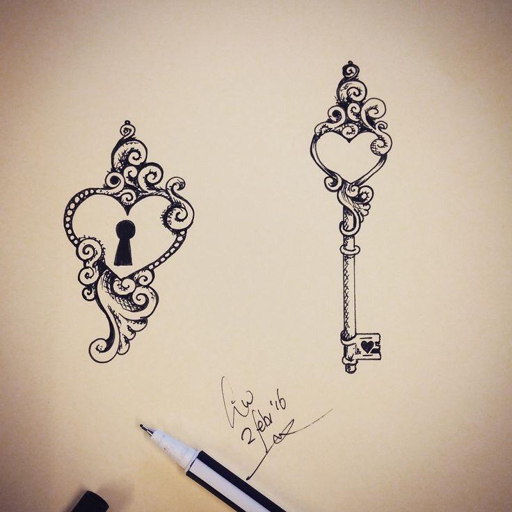 sleutel hart tattoo