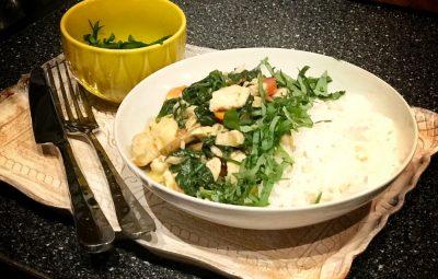 rijst met kip en pesto