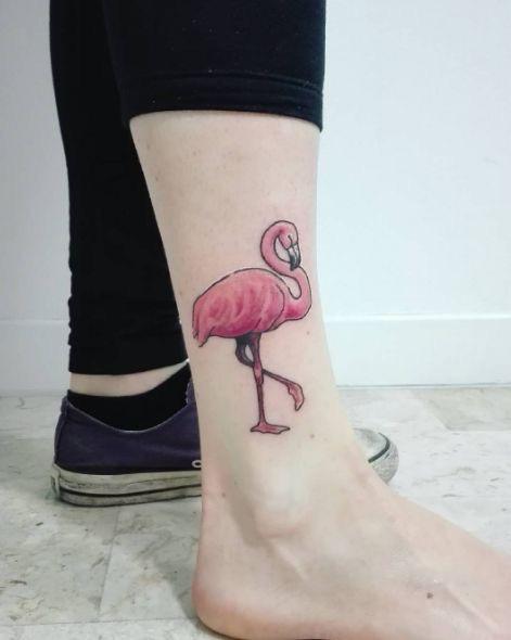enkel tattoo flamingo