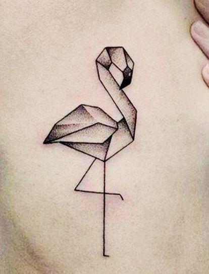 geometric flamingo tattoos