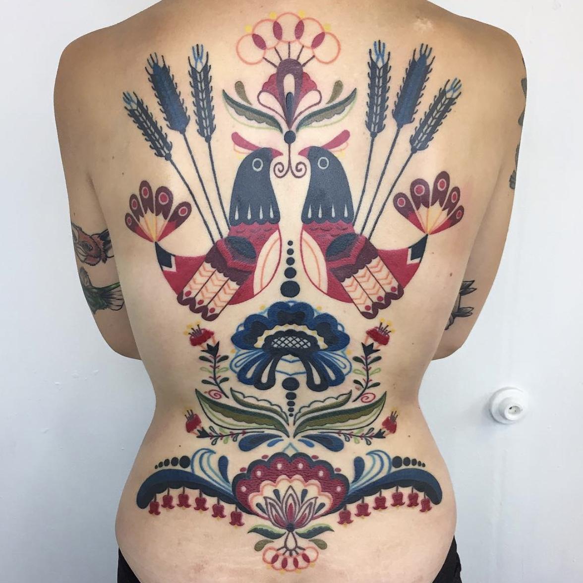 folk art tattoos by Winston