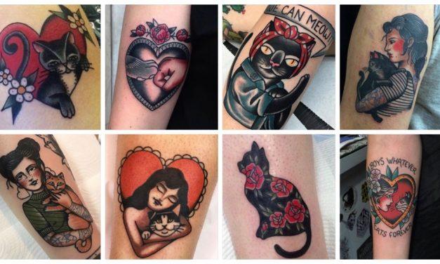 40x inspiratie voor een old school cat tattoo